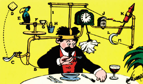 Rube Goldberg's Self-Operating Napkin