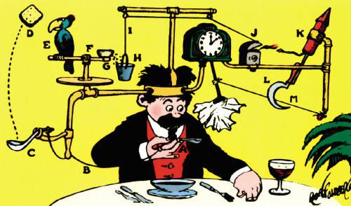 Rube Goldberg's Self-Operating Napkin
