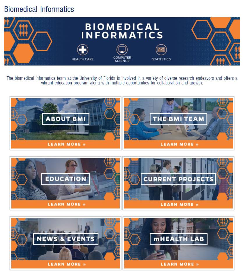Screen shot of the Biomedical Informatics
